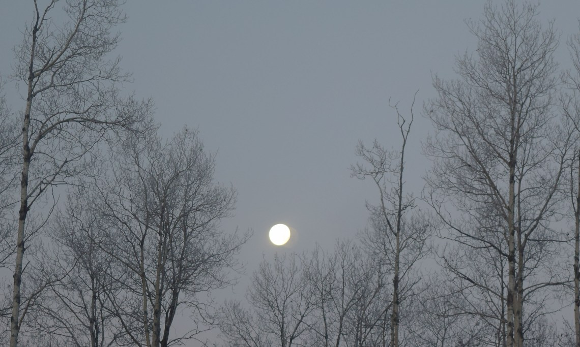 The moon sinks to the horizon west of Prince George. Bill Phillips photo