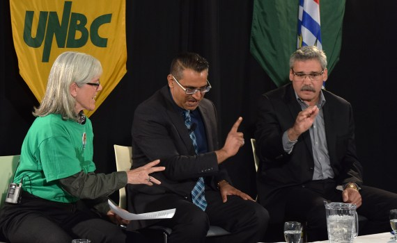Green Party candidate Hilary Crowley, New Democrat Bobby Deepak, and Liberal Mike Morris debate Site C during an all-candidates forum Tuesday. Bill Phillips photo
