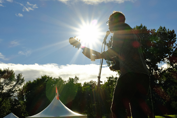 Dan Johnson of the band Flying Machine performing in Lheidli T'enneh Memorial Park during Sound of Summer, which was part of the Celebrate PG program for 2016.