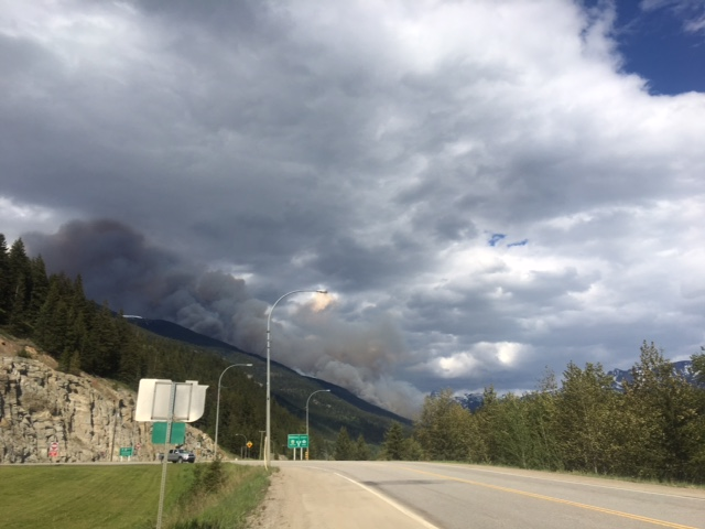 Forest fire near Tete Jaune Cache. BC Forest Service photo