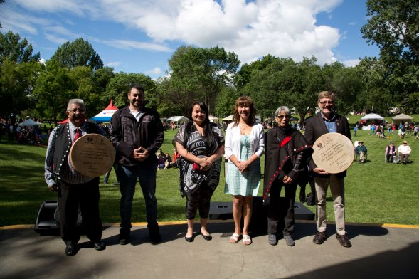 Lheidli T'enneh First Nation Chief Dominic Frederick and council members along with CNC President Henry Reiser at Lheidli T'enneh Memorial Park. CNC photo