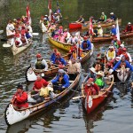 Voyageur canoes and their paddlers in Hudson Bay Slough. Bill Phillips photo
