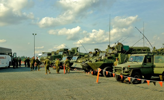 Canadian military setting up for the night in Prince George. City of Prince George photo