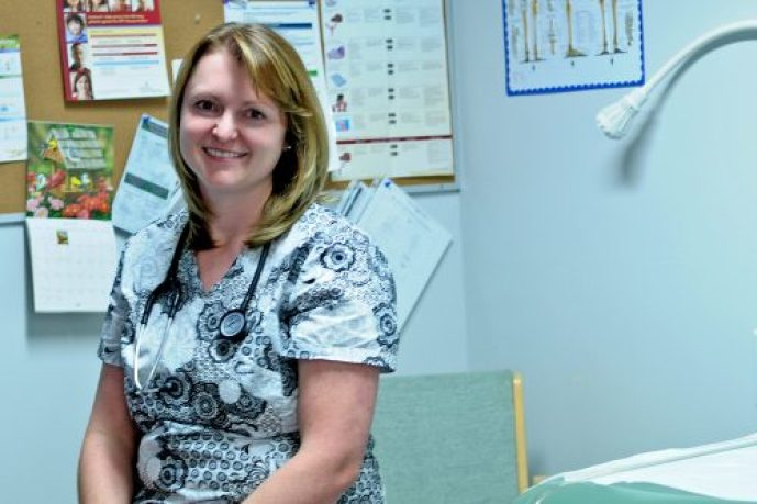 Dr. Joliel Steyl, an emergency room doctor and current evacuee from Williams Lake, is working at Northern Health's Health Management Service Clinic, which was set up at the College of New Caledonia (CNC) for evacuees. City of Williams Lake photo