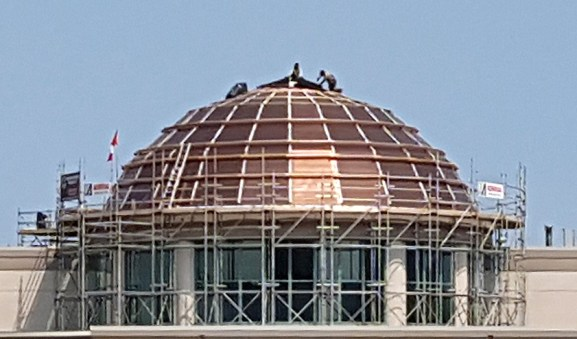 No place to escape the hot August sun for this worker putting the finishing touches on a new copper roof for the Prince George Courthouse. WorksafeBC is warning workers and employers about the dangers of heat exhaustion as the area is gripped in a summer heatwave.