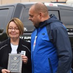Cariboo-Prince George MP Todd Doherty presents a plaque to Prince George-Valemount MLA Shirley Bond in recognition of years of support for the Terry Fox Run in Prince George. Bill Phillips photo