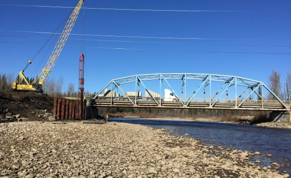 Pile driving at the Salmon River bridge. Government of B.C. photo