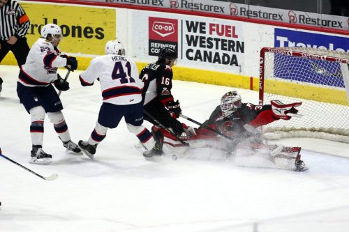 Cougars netminder Taylor Gauthier in action Wednesday night in Regina. Keith Hershmiller photo