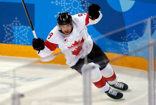 Derek Roy of Canada celebrates a goal in the men's bronze medal hockey game against the Czech Republic at the Gangneung Hockey Centre during the PyeongChang 2018 Olympic Winter Games in PyeongChang, South Korea on February 24, 2018. (Photo by Vaughn Ridley/COC)