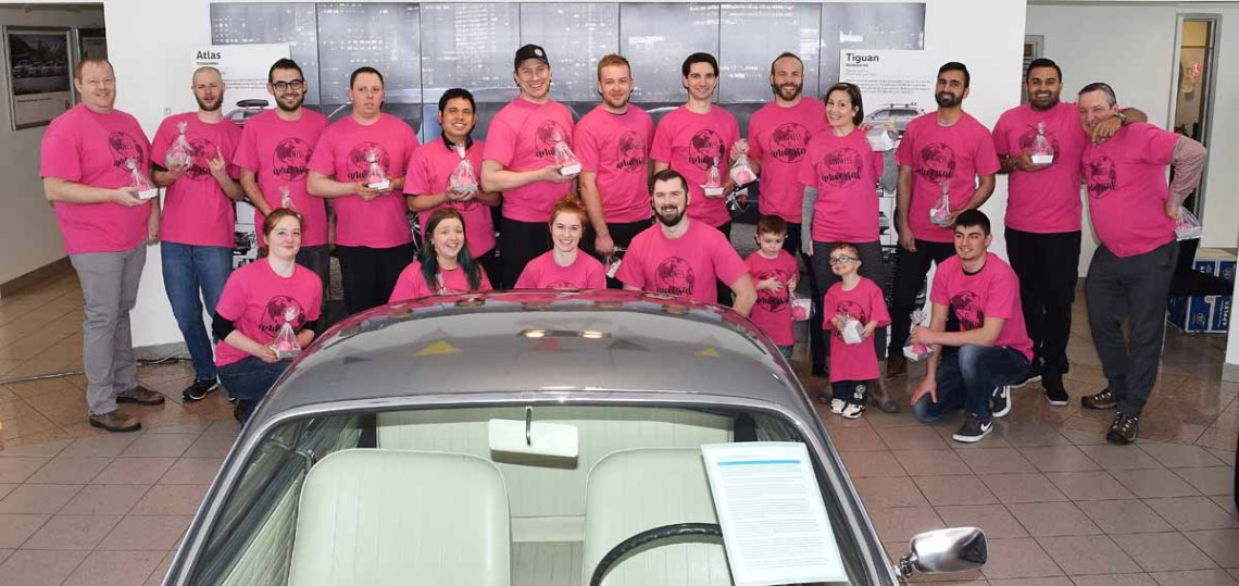 The staff at Hub City Volkswagen show that they don't tolerate bullying by wearing pink shirts for Pink Shirt Day. They were also treated to pink candied applies and pink shakes. Bill Phillips photo