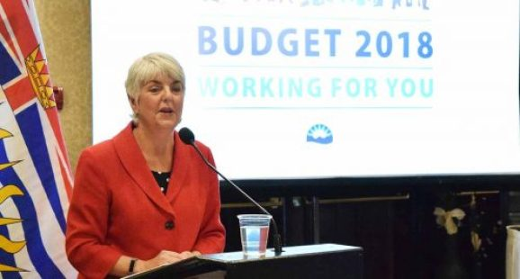 Finance Minister Carole James talks budget to about 40 people in Prince George Saturday. Bill Phillips photo