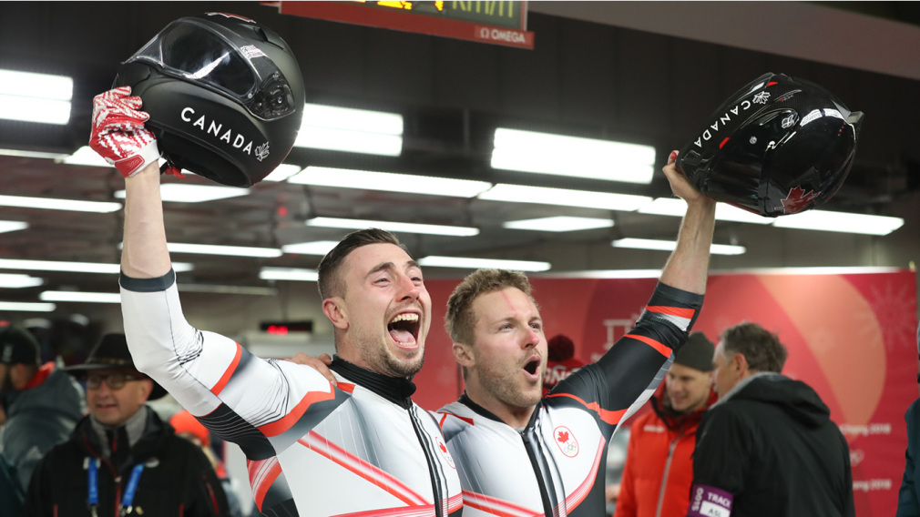 Justin Kripps and Alex Kopacz win gold in two-man bobsleigh. Canada Olympic Committee photo