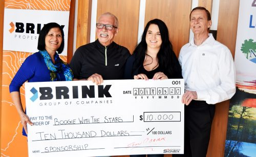 Paz Milburn, (left), John Brink of the Brink Group of Companies, Sanja Knezevic, special events coordinator for Prince George Hospice, and Peter Milburn get ready for Boogie with the Stars. The Brink Group is the title sponsor and Hospice is the main charity. Bill Phillips photo
