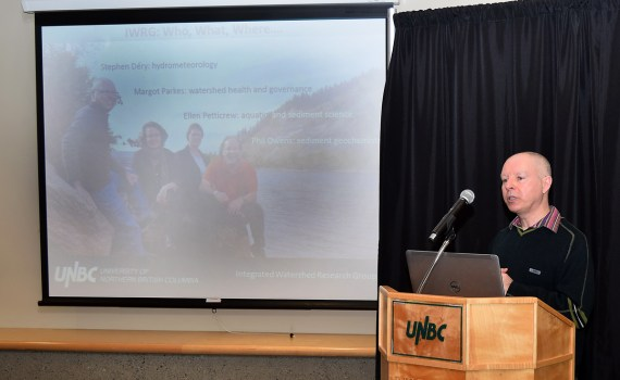 Dr. Stephen Dery talks about research into the effects of climate change in the Nechako River basin. Bill Phillips photo