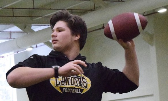 Jake McLeod, who is battling cancer in his leg, will be at the Timberwolves Athlete Student Society bottle drive in the CN Centre parking lot Saturday.