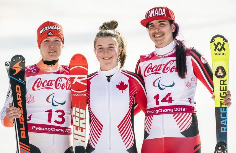 Mollie Jepsen (centre) and Alana Ramsay (right) took over the women's standing Super Combined podium, netting a gold and bronze medal for Canada. The silver medal went to Germany's Andrea Rothfuss (left) (CNW Group/Canadian Paralympic Committee (Sponsorships))
