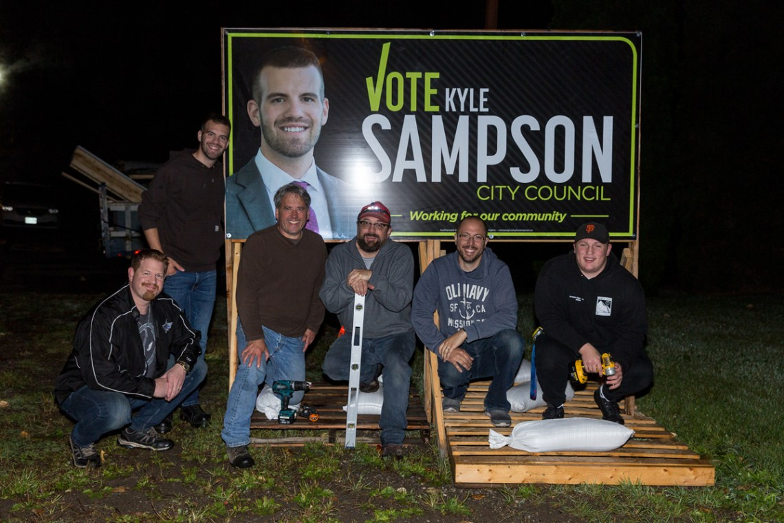 City council candidate Kyle Sampson was the first candidate to officially announce his intention to run and, on Tuesday, he was the first to get his signs up. Sampson with his sign cres Trent Blair, Phil Beaulieu, Talon Beaulieu, David Horton, and Quin McGowan were out in the wee hours putting up signs and Sampson was at City Hall at 9 a.m. sharp to file his nomination papers. James Doyle photo