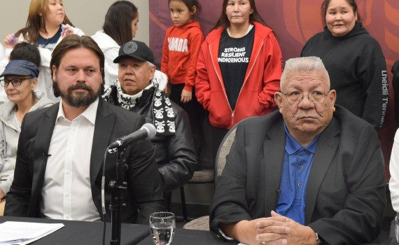 Lheidli T'enneh First Nation Chief Dominic Frederick (right) and the band's lawyer Malcolm MacPherson announce Wednesday the band is seeking a court injunction to shut down Enbridge's two natural gas pipelines that go through Lheidli T'enneh traditional territory. Bill Phillips photo