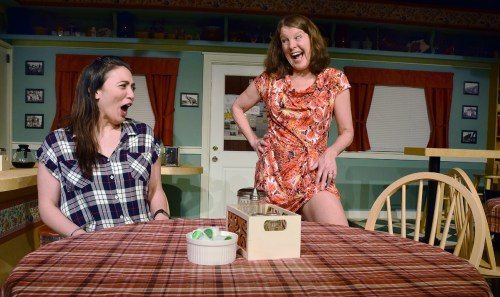 Melissa Oei (left), who plays Janine in Miracle Theatre's production of Halfway There, and Linda Carlson, who plays Mary Ellen, rehearse a scene. The play runs until March 24 at Artspace, above Books and Co. Bill Phillips photo