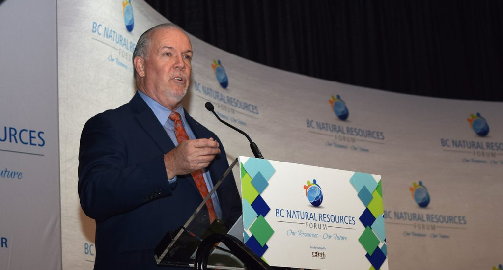 Premier John Horgan addresses a capacity crowd at the BC Natural Resources Forum. More than 1,100 people registered for the annual event. Bill Phillips photo
