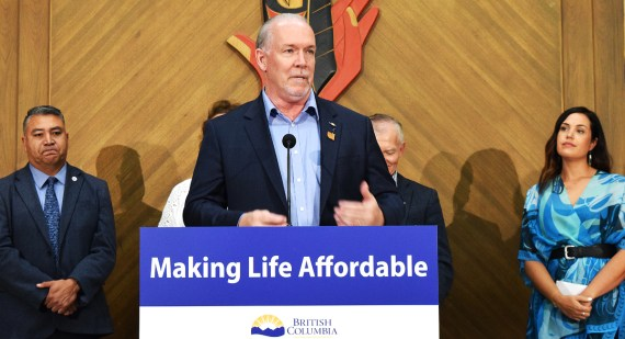 Premier John Horgan announces a 10-year, $550 million program for indigenous housing in B.C. Bill Phillips photo