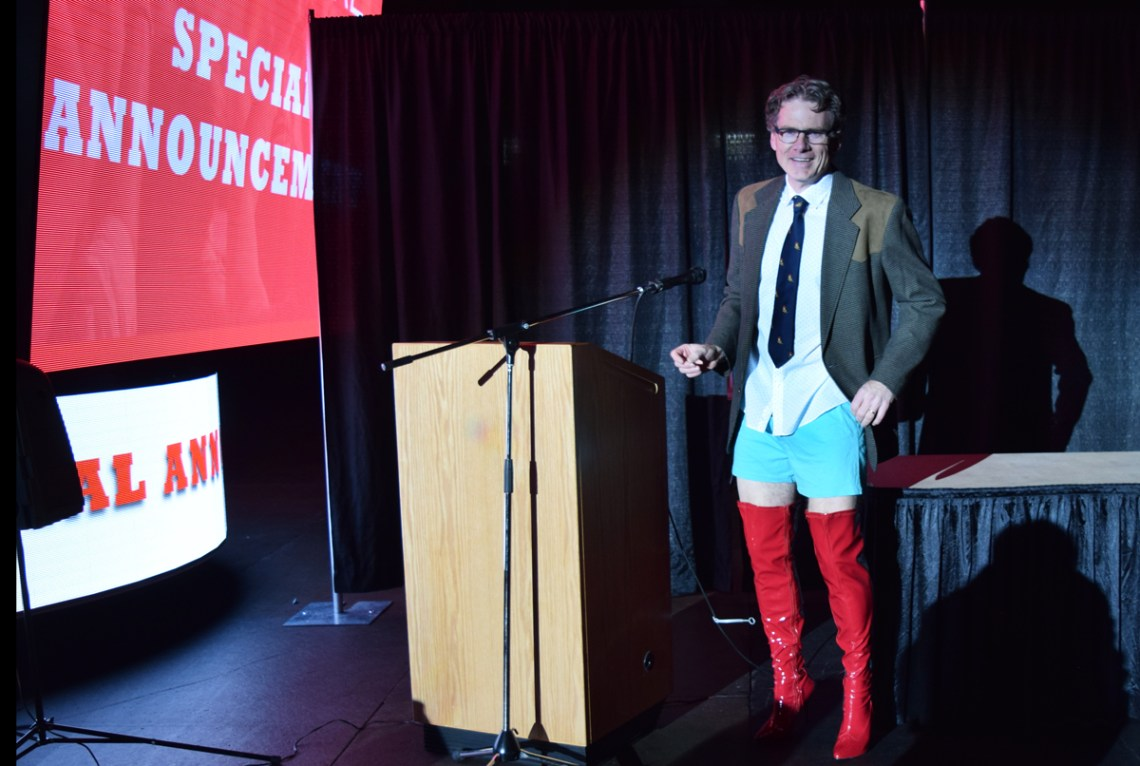 CN Centre manager Glen Mikkelsen dons some kinky boots to announce that the Broadway show Kinky Boots is coming to Prince George March 22. Bill Phillips photo