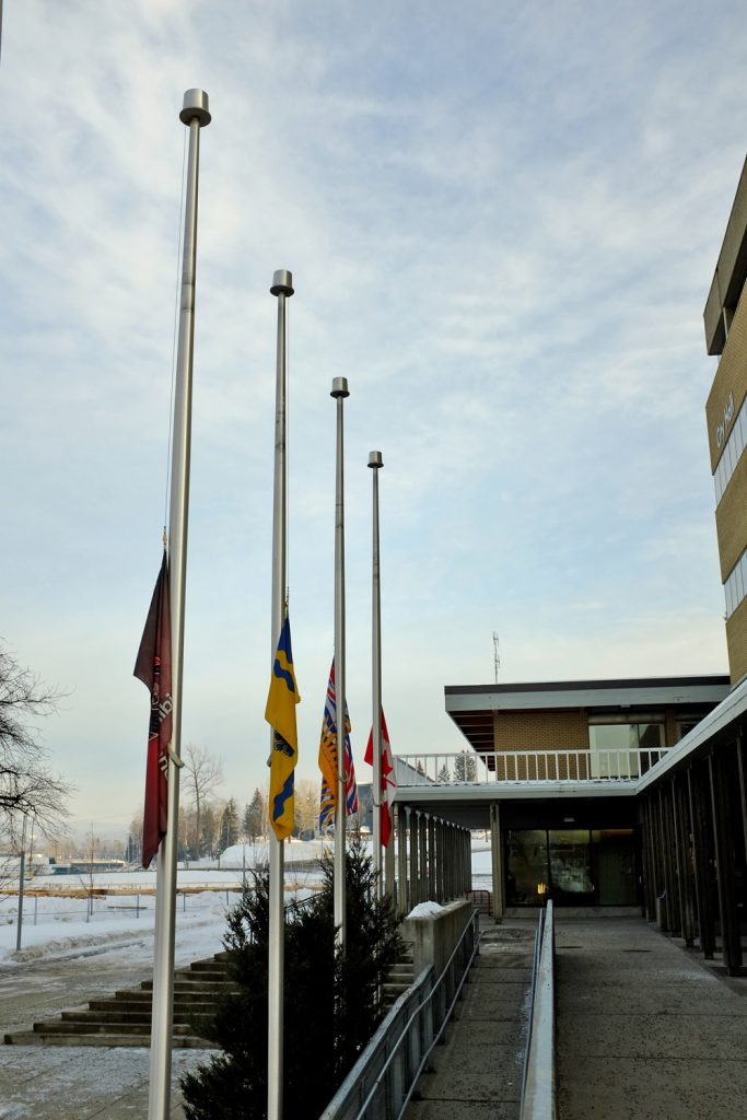 The City of Prince George has lowered its flags to half-mast in honour of Lheidli T'enneh Elder Mary Gouchie, who passed away late last week, just a few weeks before her 98th birthday. She was the oldest living Lheidli T'enneh member and was one of only a few who fluently spoke the Dakelh language. A photo of Mary Gouchie is displayed in the Lheidli T'enneh Memorial Park Pavilion, which opened in 2018. City of Prince George photo