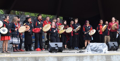Khast'an Drum Group drums and sings O Canada in their native language. Bill Phillips photo