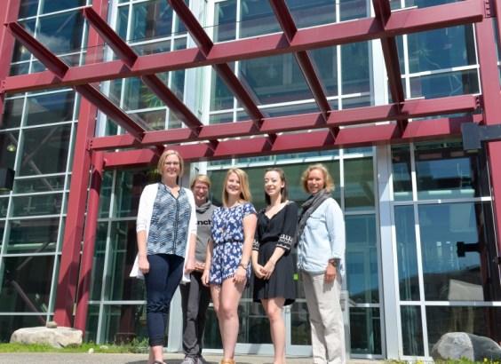 From left: Heidi Dodenberg (senior nursing lab instructor), Gwen Keeler (senior nursing lab instructor), Mikayla Fairley (UNBC Nursing 2018 graduate), Julie Dutchak (UNBC Nursing 2018 graduate), and Dr. Sylvia Barton (Chair, UNBC School of Nursing). UNBC photo