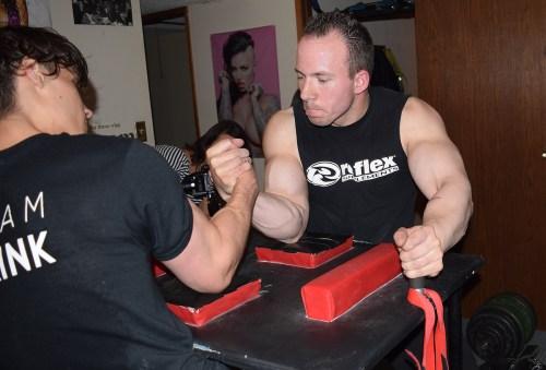 Armwrestlers Dan Gallo and Jacob Lea train six days a week. Bill Phillips photo