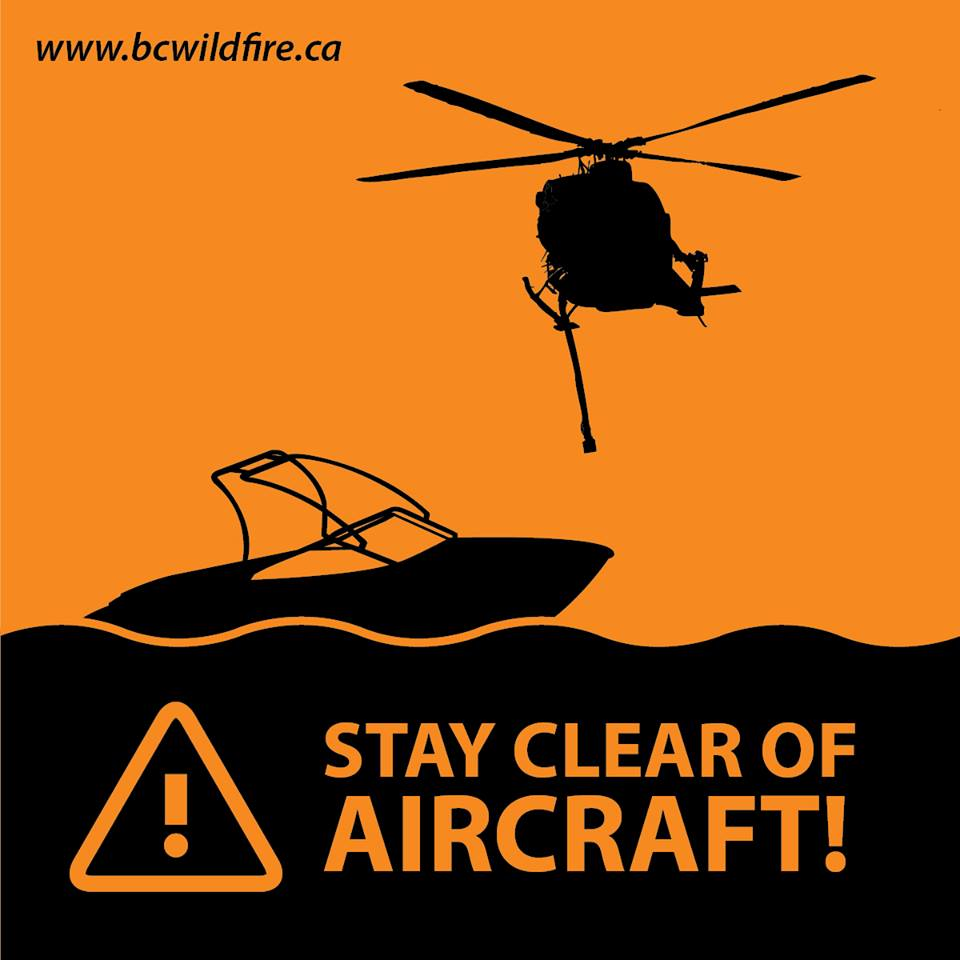 Boaters are asked to please stay clear of water skimming aircraft that are using Fraser Lake to support wildfire suppression efforts on the Shovel Lake fire.