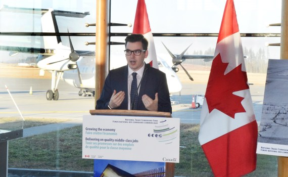 Terry Beech, Parliamentary Secretary to the Minister of Transport and Member of Parliament for Burnaby North–Seymour, announces $2.3 million in funding for the Prince George Airport Authority. Bill Phillips photo