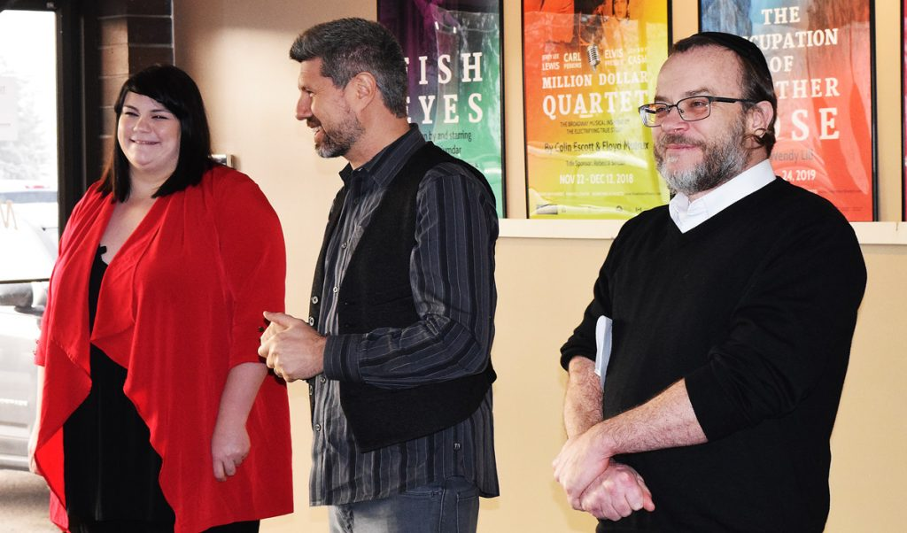 Melissa Glover, who is the recipient of an apprenticeship at Theatre NorthWest, along with Jack Grinhaus, TNW artistic director, and Sean Farrell, Community Arts Council executive director. Bill Phillips photo
