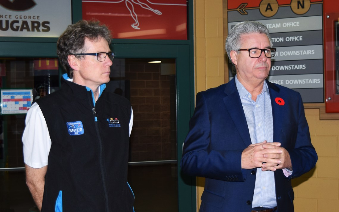 CN Centre manager Glen Mikkelsen and Mayor Lyn Hall talks about the city losing its bid to host the 2020 national men's curling championship. Bill Phillips photo