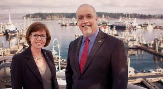 NDP candidate in Nanaimo Sheila Malcolmson and Premier John Horgan. Facebook photo