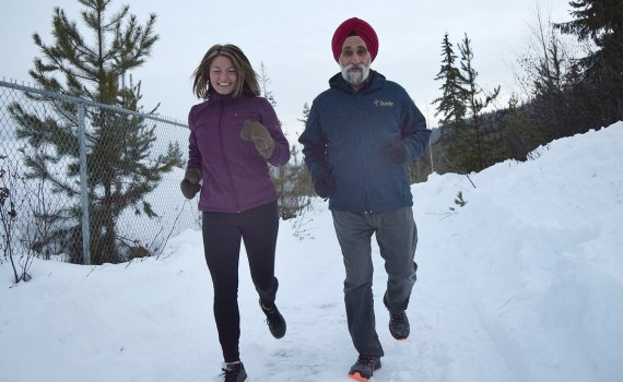 Surjit Minhas and Liz Bennett get some training in as they get ready for the Prince George Iceman February 10. Bill Phillips photo