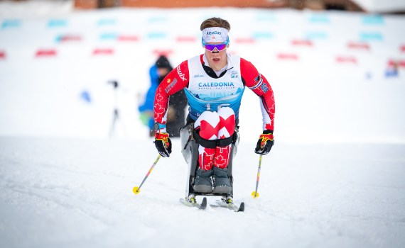 Canadian Derek Zaplotinsky competes Saturday in the BT Srpint at World Para Nordic Skiing Championships. Kelly Bergman/Berg Media