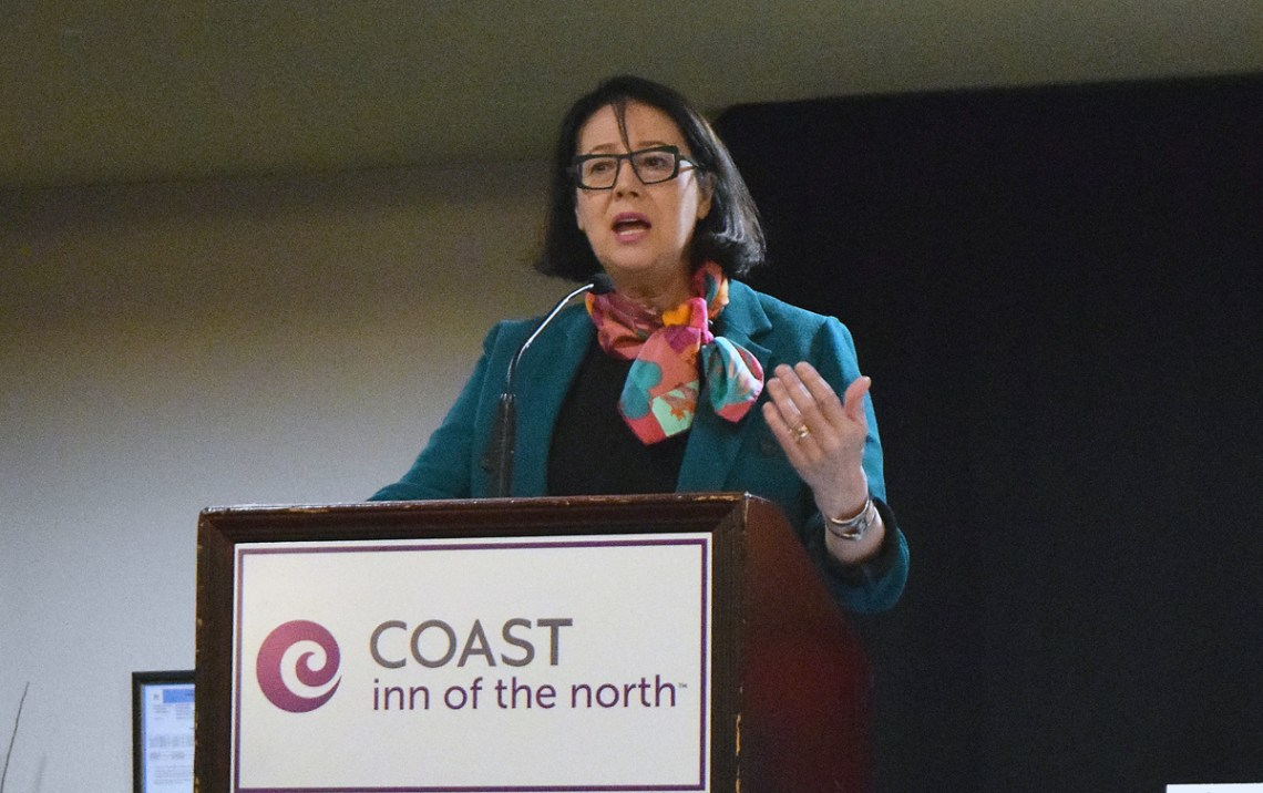 Janet Austin, Lieutenant Governor of British Columbia, delivers opening remarks to the BC Association of Healthcare Auxiliaries 2019 Conference in Prince George Monday. Bill Phillips photo