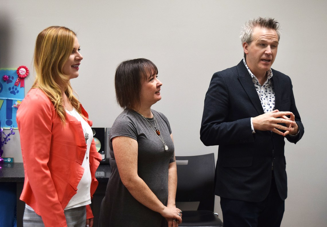 Northern Fancon's Norm Coyne, along with Leah Coghlin (centre), president of the Prince George Humane Society board of directors, and Melissa Garner, executive director, announce special fundraiser for the society during this year's Northern Fancon. Bill Phillips photo