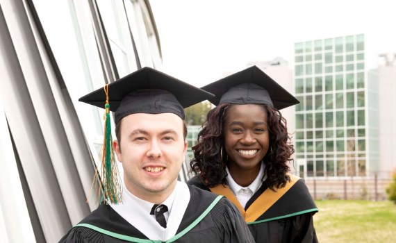 Emilio Caputo (left) and Raliat Abioye will be the 2019 valedictorians at the University of Northern British Columbia. UNBC Photo