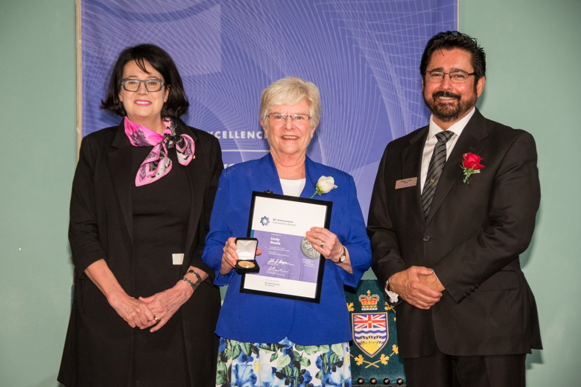 Lieutenant Governor Janet Austin and Robert Louie, board member of the BC Achievement Foundation present Lindy Steele with the BC Achievement Community Award.