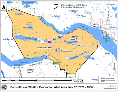 Evacuation order rescinded for properties affect by Camsell Lake fire northwest of Fort St. James
