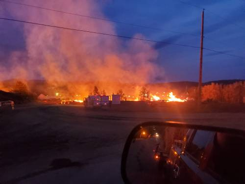Fire in log yard at West Fraser mill in Chetwynd