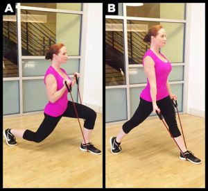 Lunge biceps curl exercise