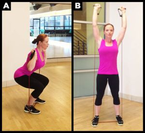 Squat shoulder press exercise