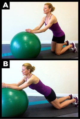 The prone roll-out using an exercise ball is a great abdominal exercise.