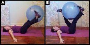 Woman exercises doing the ball leg drop.
