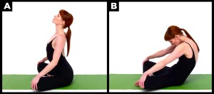 Woman exercises with yoga.