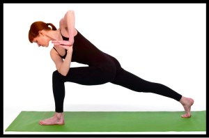 Woman exercising with yoga lunge.
