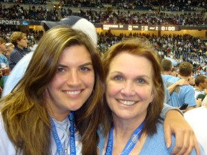 Cate Edwards, left, and mother Elizabeth at a University of North Carolina at Chapel Hill basketball game.